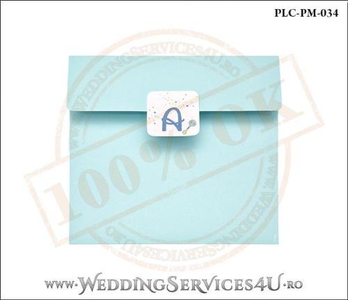 Plic Patrat Invitatie Nunta-Botez PLC-PM-034-1 Bleu