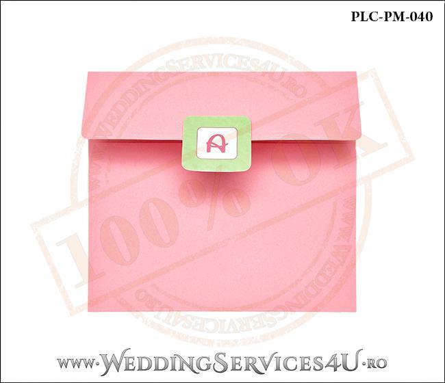 Plic Patrat Invitatie Nunta-Botez PLC-PM-040-1 Roz