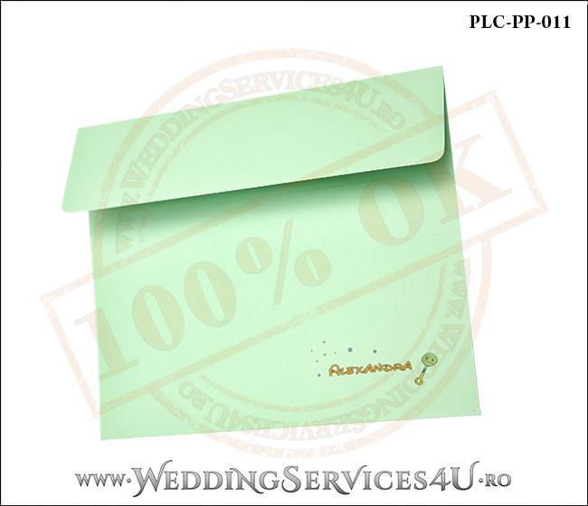Plic Patrat Invitatie Nunta-Botez PLC-PP-011-2 Verde