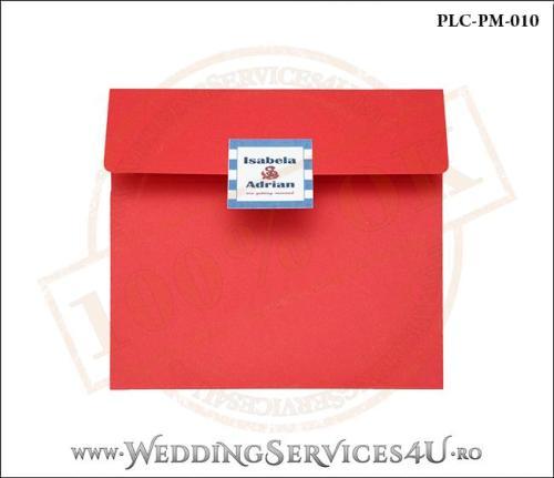 Plic Patrat pentru invitatie de Nunta Colorat Personalizat cu tematica marina realizat din carton rosu mat cu Monograma Aplicata. PLC-PM-010-1