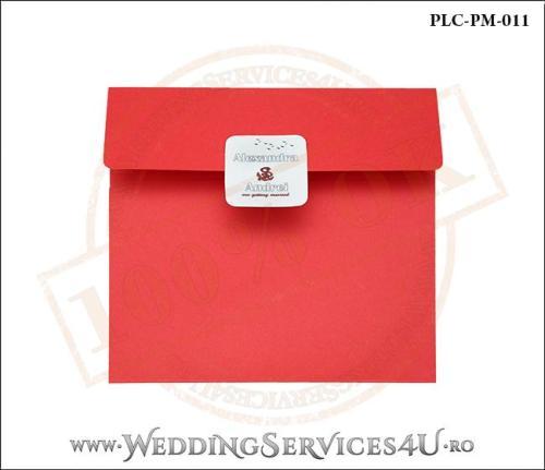 Plic Patrat pentru invitatie de Nunta Colorat Personalizat cu tematica marina realizat din carton rosu mat cu Monograma Aplicata. PLC-PM-011-1