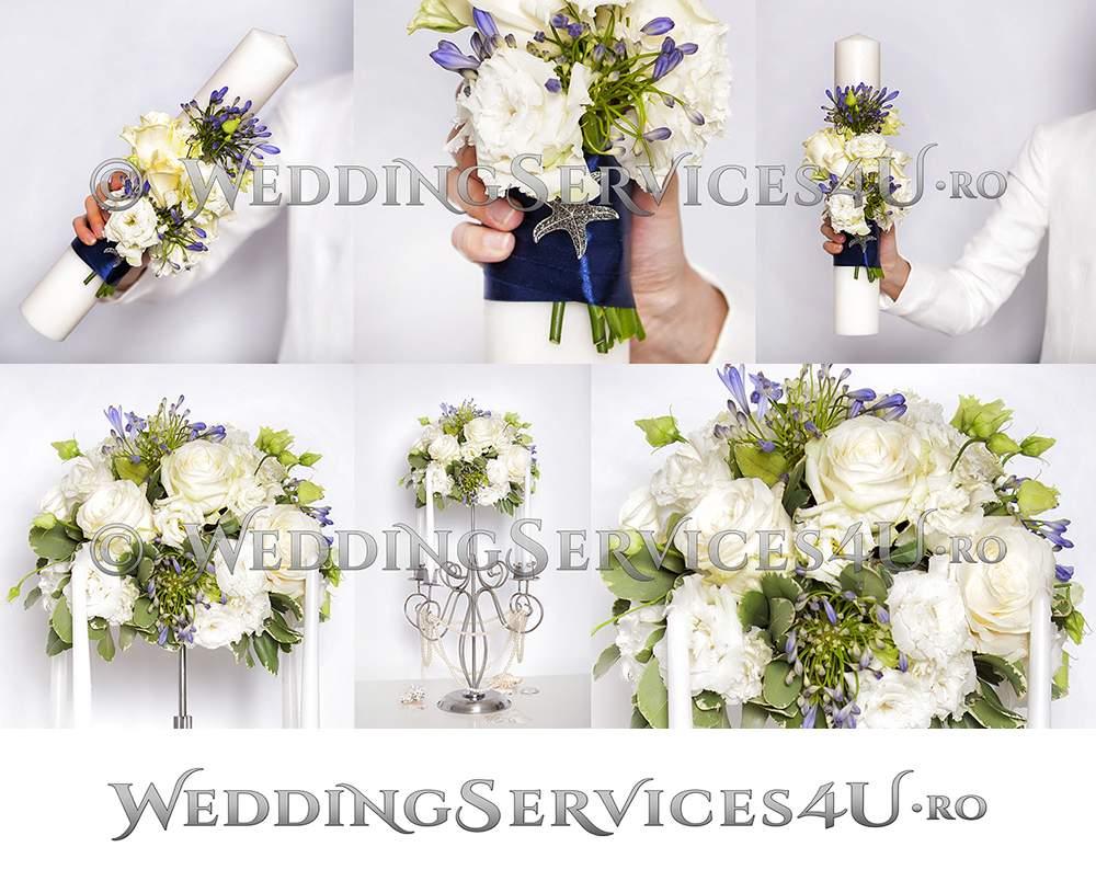 lumanari nunta botez si aranjamente decoratiuni florale pentru cununia civila biserica si sala restaurant bucuresti