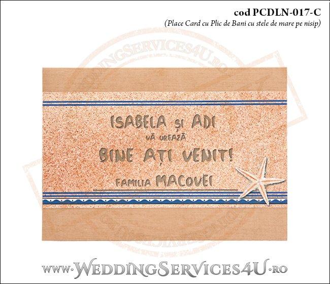 PCDLN-017-C-01 place card cu plic de bani nunta botez maro crem marin cu tematica marina si stelute de mare pe nisip