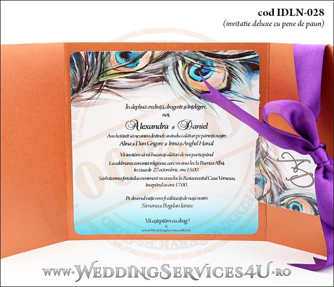 Invitatie_Deluxe_Nunta_Botez_IDLN-028-06__cu_grafica_cu_pene_de_paun
