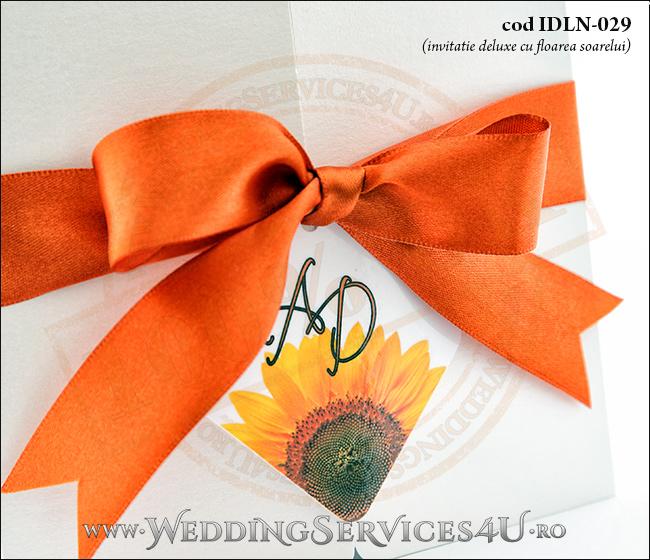 Invitatie_Deluxe_Nunta_Botez_IDLN-029-04_cu_floarea_soarelui_si_fundita_caramisie
