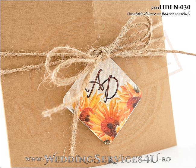 Invitatie_Deluxe_Nunta_Botez_IDLN-030-04__rustica_deosebita_cu_flori_de_floarea_soarelui