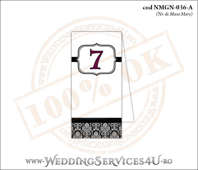 NMGN-036-A Numar de Masa pentru Nunta sau Botez cu grafica alb-negru eleganta pe stil clasic retro royal