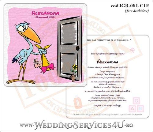 IGB-081-C1F Invitatie de Botez cu o barza 'livrand' un bebelus la usa casei (baby delivery)