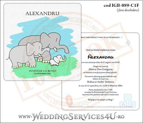 IGB-089-C1F Invitatie de Botez cu o familie de elefanti (un bebe elefantel impreuna cu parintii lui)