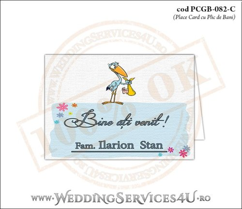PCGB-082-C Place Card cu Plic de Bani sigilabil pentru Botez cu o barza 'livrand' un bebelus la usa casei (baby delivery)