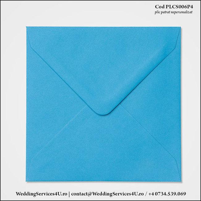 PLCS006P4 Plic Colorat AlbastruTurcoaz pentru Invitatie Patrata de Nunta Botez