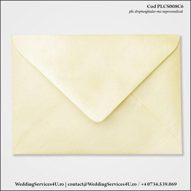PLCS008C6 Plic Colorat Crem Sidefat pentru Invitatie Mica de Nunta Botez
