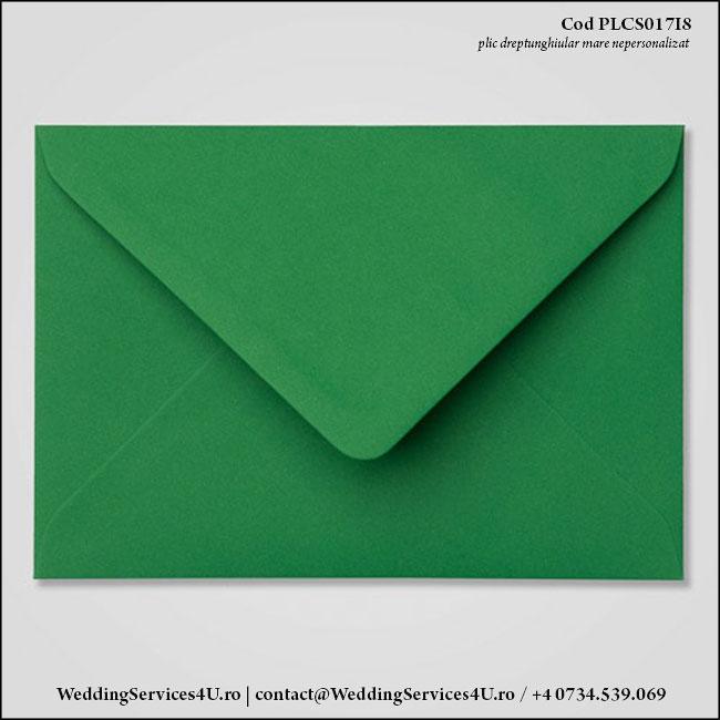 PLCS017i8 Plic Colorat Verde Inchis pentru Invitatie Mare de Nunta Botez
