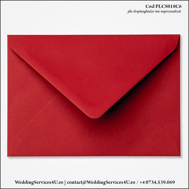 PLCS018C6 Plic Colorat GrenaRosu Inchis pentru Invitatie Mica de Nunta Botez