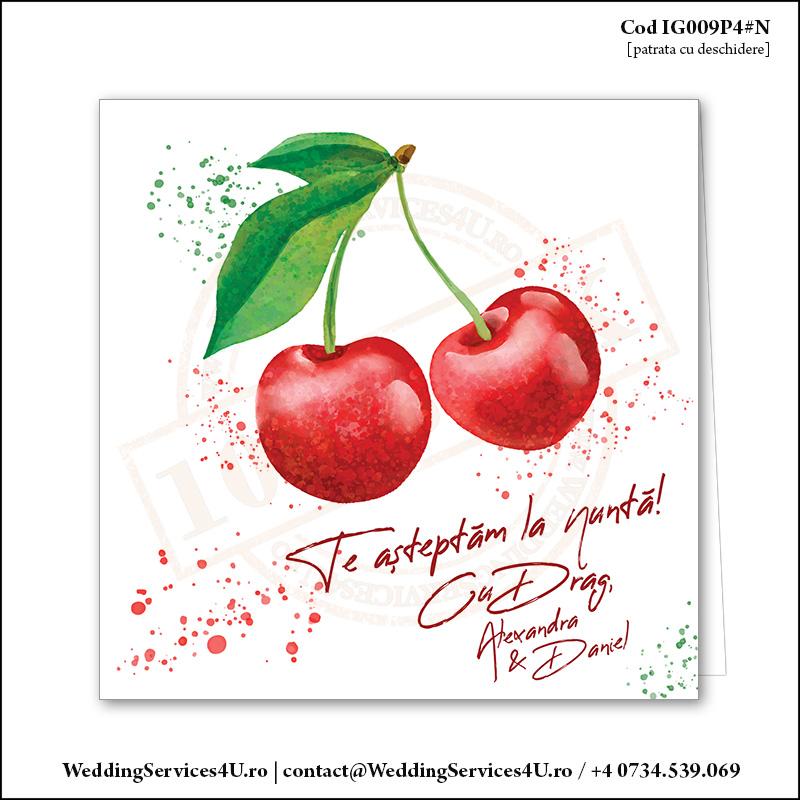 IG009P4#N Invitatie de Nunta cu Doua Cirese Rosii gen Watercolor Painting (Acuarela) Cod IG009P4#N
