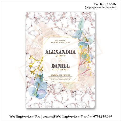IG011A5#N Invitatie de Nunta Marmorata cu Flori gen Watercolor Painting (Acuarela) Cod IG011A56#N