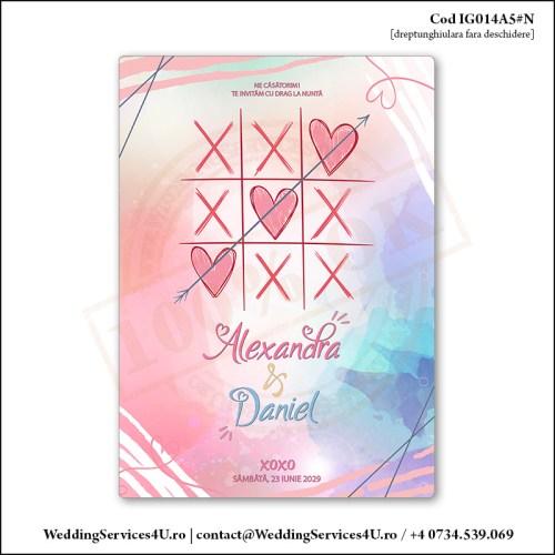 IG014A5#N Invitatie de Nunta Joc In Doi cu Inimi Cod IG014A56#N