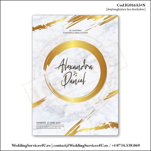 IG016A5#N Invitatie de Nunta Marble Golden Chic Cod IG016A56#N