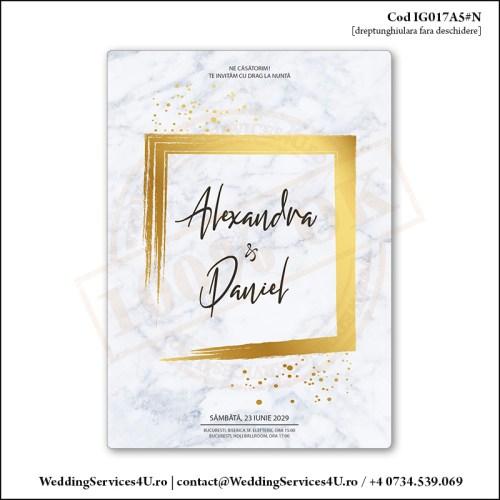 IG017A5#N Invitatie de Nunta Marble Golden Chic Cod IG017A56#N