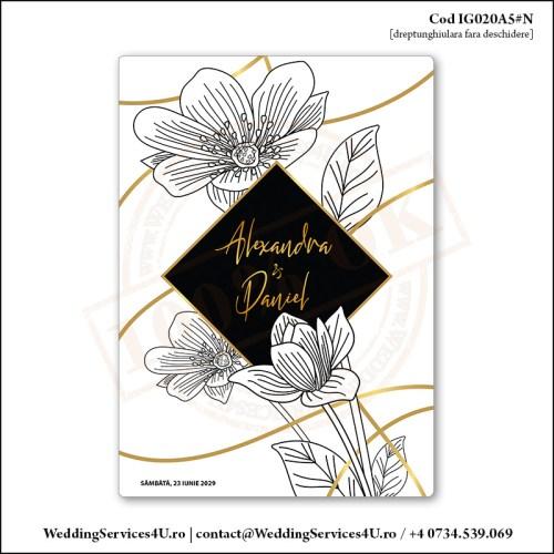 IG020A5#N Invitatie de Nunta Florala Black & Gold Cod IG020A56#N