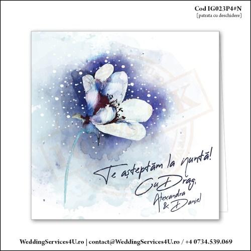 IG023P4#N Invitatie de Nunta cu o Floare mare pictata gen Watercolor Painting (Acuarela) Cod IG023P4#N
