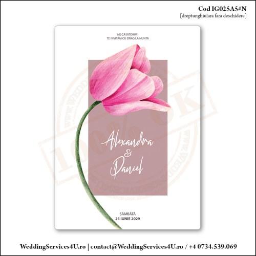 IG025A5#N Invitatie de Nunta Florala Pink Tulip Cod IG025A56#N