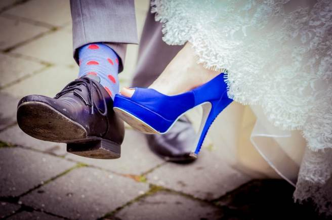 bride's blue wedding shoes