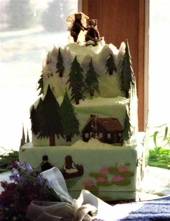 start park wedding cake with canoe cabin and bear bride and groom cake topper
