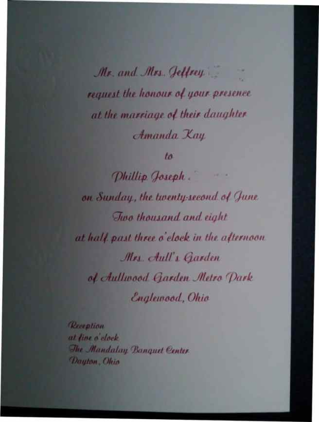 wedding invitation corner copy sample