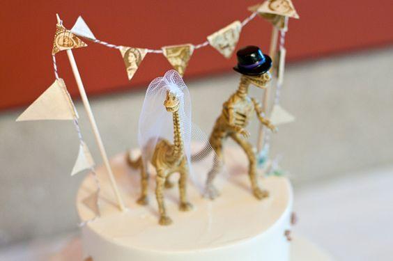 Dinosaur Bride and Groom Wedding Cake Topper