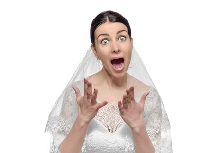 stressed, worried, upset, angry bride