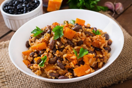 44430990 - mexican vegan vegetable pilaf with haricot beans and pumpkin