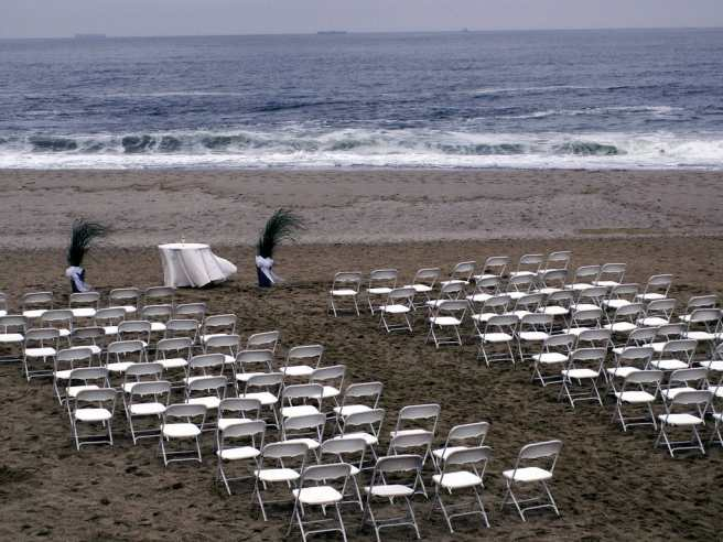 rainy wedding at seashore