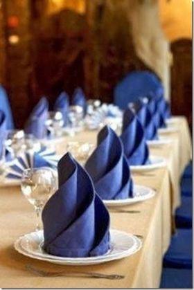 blue napkin folds