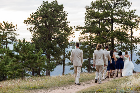 walking to remote wedding location