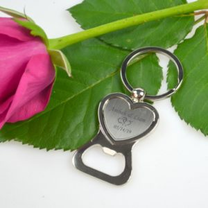silver heart bottle opener keyring wedding favor personalized favors