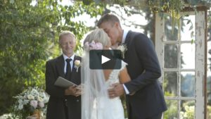 wedding video with bride and groom kiss ceremony