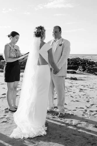 beach wedding black white photo