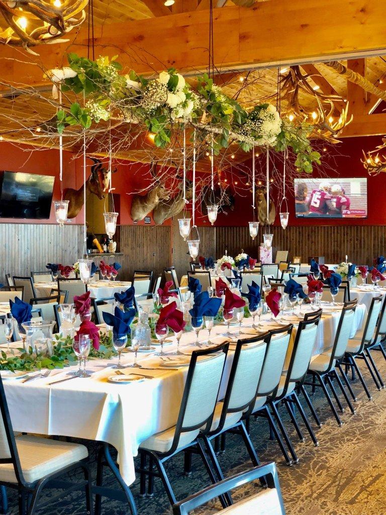 MN Horse wedding flowered ceiling