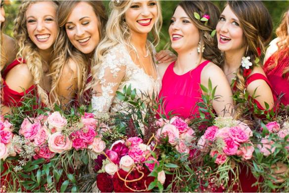 romantic wedding of west texas red and pink