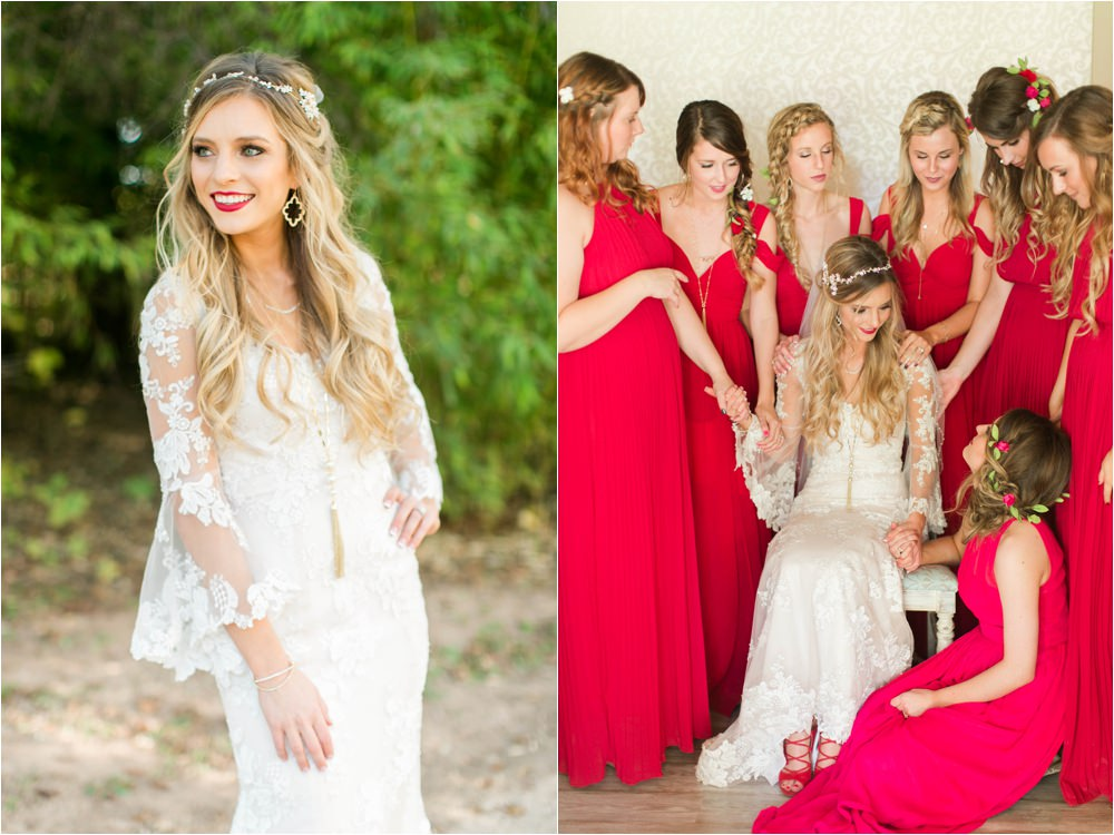 bold red wedding details