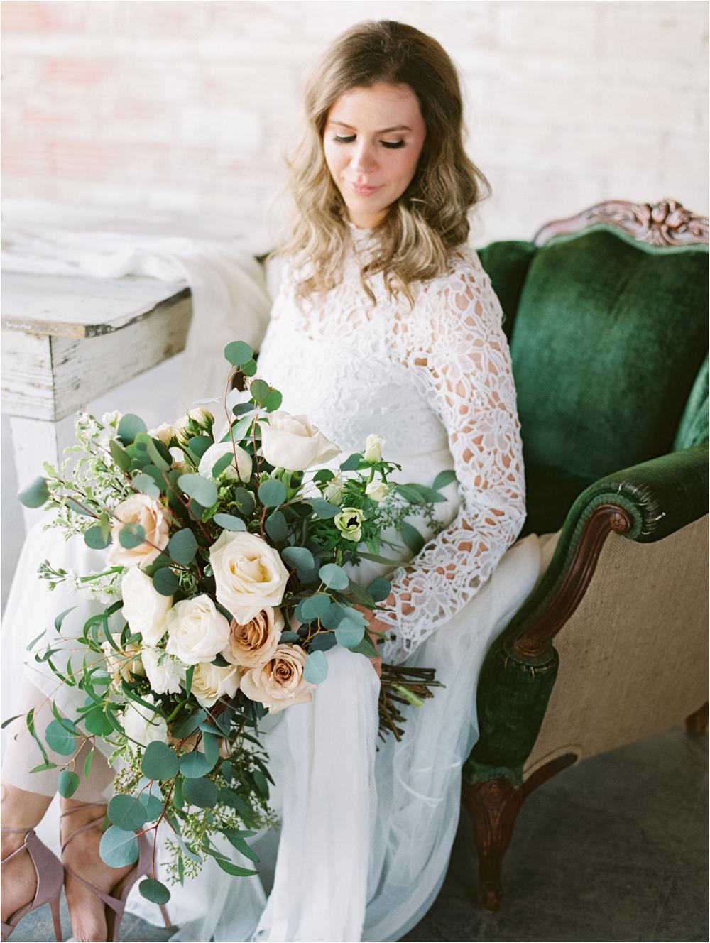 classic wedding bouquet with emerald details west texas wedding