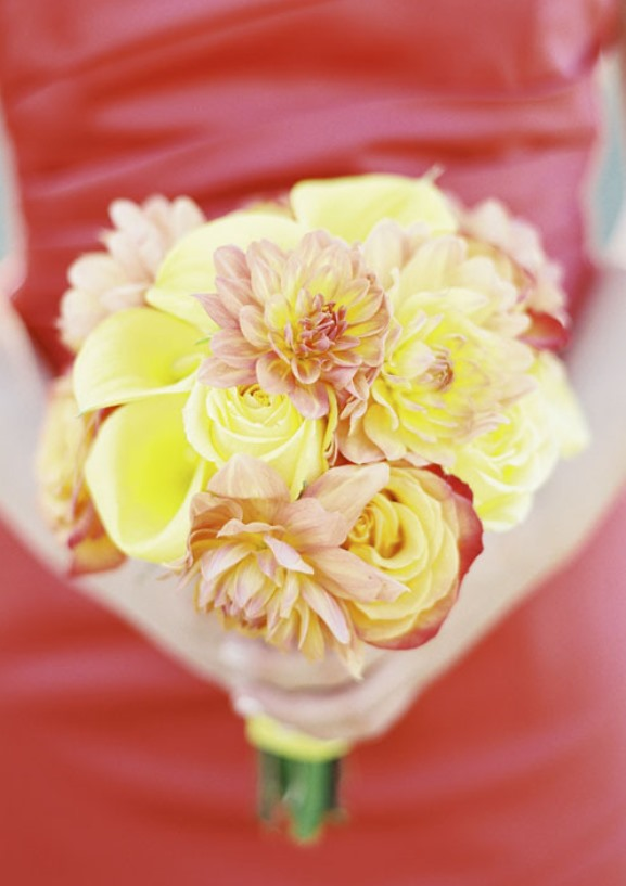 Coral Orange Bridesmaids dress with yelow bridesmaids bouquet