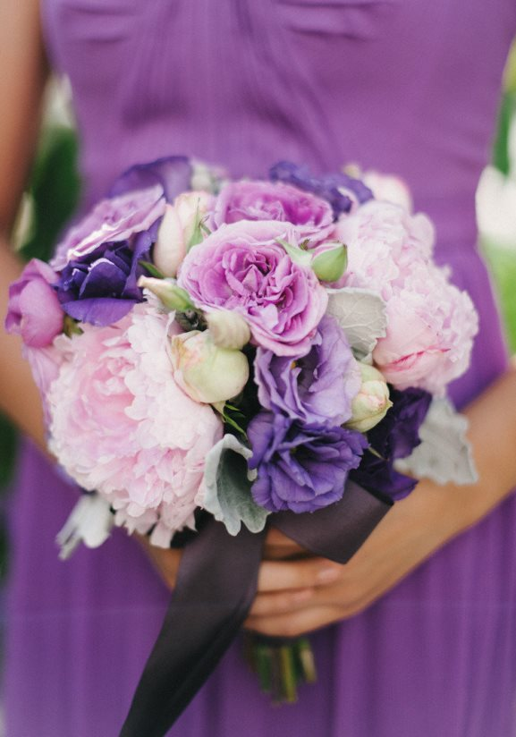 Purple Bridesmaids dress with pink lavender bridesmaids bouquet