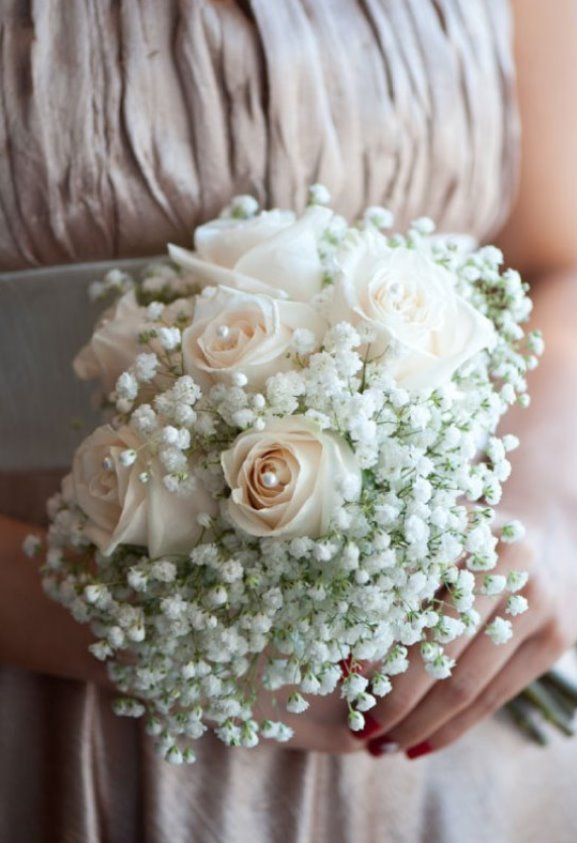 Silver and White Bridesmiads Bouquet