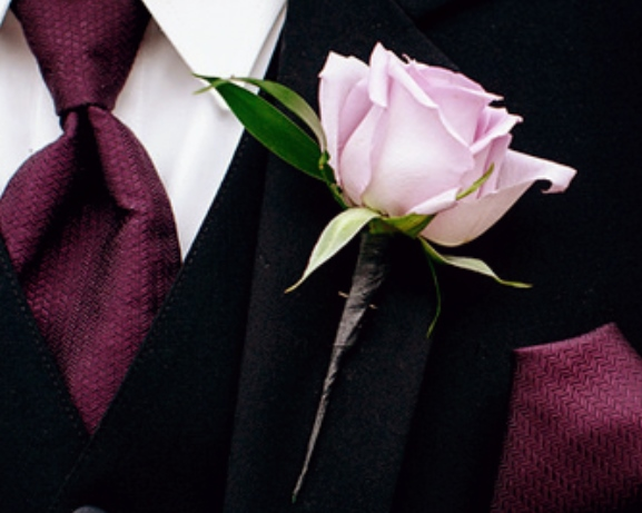 Wedding Pink Rose Boutonniere