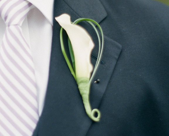 Wedding White Calla Lilly Boutonniere Ideas