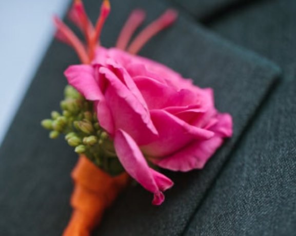 Wedding pink and orange ribbon Boutonniere Idea