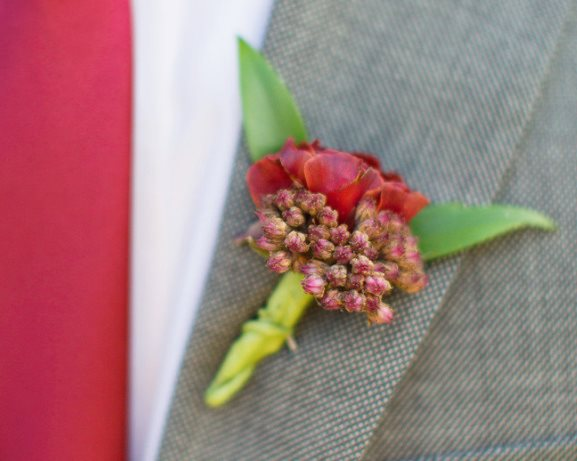 Wedding wine cranberry fall theme Boutonniere