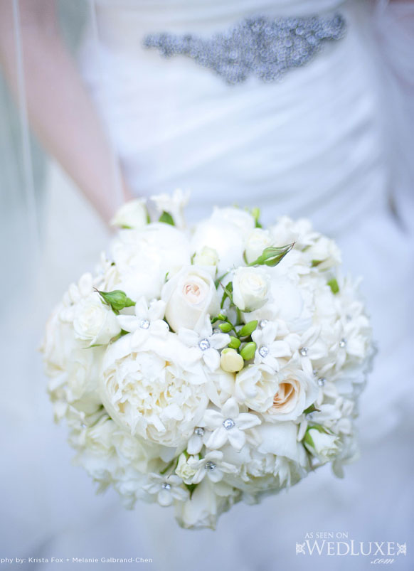 Luxury white Bridal bouquet with crystals